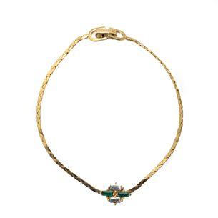 Pulseira-Christian-Dior-Dourada-com-Pedras-Verdes