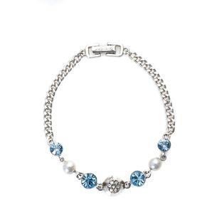 Pulseira-Givenchy-Prateada-Pedras-Azul-Claro-e-Perolas