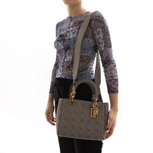 Bolsa-Christian-Dior-Lady-Dior-Cinza-Studded