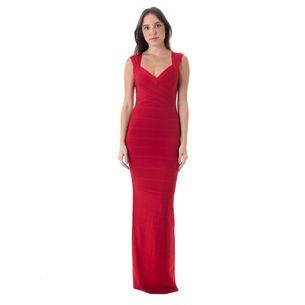 Vestido-Estrella-Herve-Leger-Bandagem-Longo-Vermelho