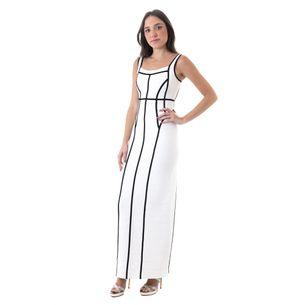 Vestido-Herve-Leger-Bandagem-Longo-Branco-e-Preto