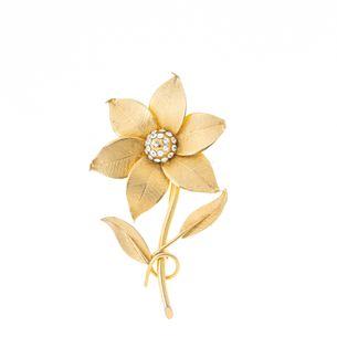 Broche-Vintage-Flor-Dourada-com-Strass