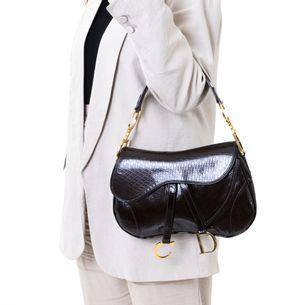 Bolsa-Christian-Dior-Double-Saddle-Verniz-Marrom-Vintage