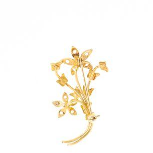 Broche-Vintage-Dourado-Ramo-de-Flores-com-Strass