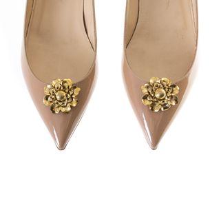 Grampo-de-Sapato-Vintage-Flor-Dourada