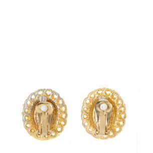 Brinco-de-Pressao-Vintage-Dourado-Pedra-Ovalada-Perolada-e-Strass