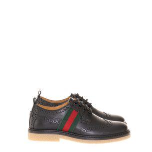 Sapato-Gucci-Derby-Couro-Preto-Faixa-Web-Lateral