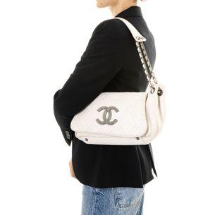 Bolsa-Chanel-Outdoor-Ligne-Accordion-Flap-Couro-Branco