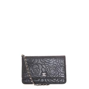Bolsa-Chanel-Camellia-Wallet-Couro-Preto-Flores