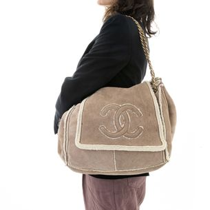 Bolsa-Chanel-Camurca-Forrada-Bege